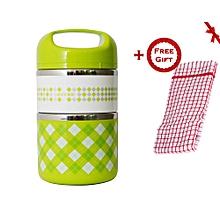 2 Layer Premium office/school lunch box set + FREE Gift Kitchen Towel.