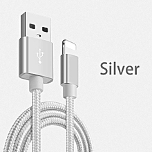 CO 3 Meters USB Charger Nylon Braided Charging Data Transfer Cable for iPhone-silver & white