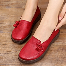 Women Buttons Decoration Slip On Round Toe Flat Loafers Casual Leather Shoes