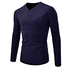 bluerdream-Men Shirt Fashion Solid Color Male Casual Long Sleeve Shirt NY/L- Navy