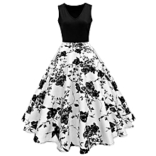 Woman Vintage Print Fit&flare Dress - White