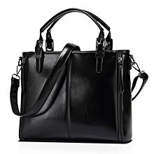 France elegant women's top-handle bag oil wax leather shoulder sling bag