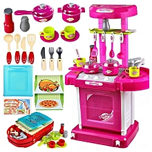 1set Portable Pink Electronic Children Kids Kitchen Cooking Girl Toy Cooker Play Set