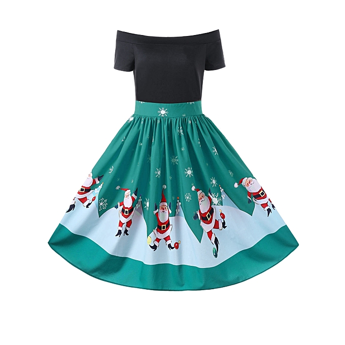 bbfa24340e8c Fashion Christmas Off The Shoulder Swing Dress - GREEN   Best Price ...