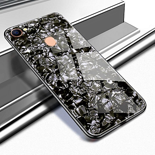 online store 90ab0 bb69f For OPPO F5 Youth Luxury Hard Tempered Glass Case Marble Shell Pattern  Design Glass Back Cover For OPPO F5 Youth Housing 345101 (Black)