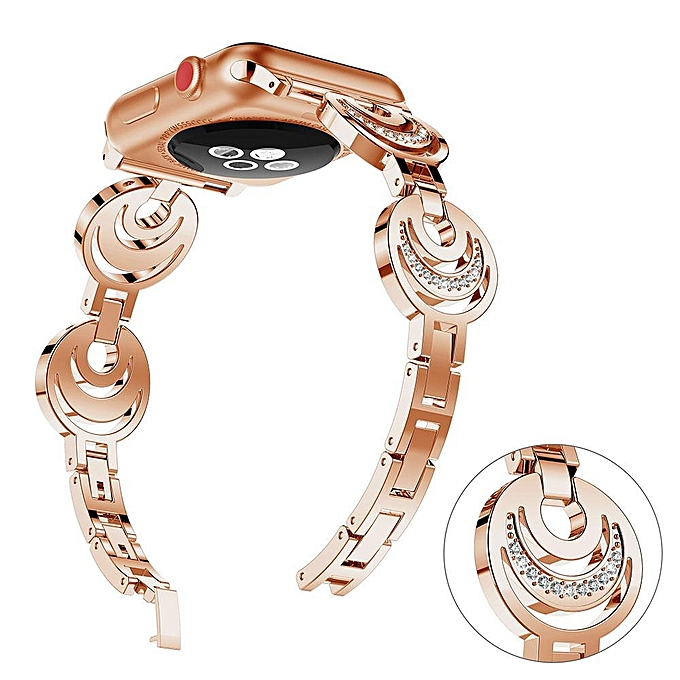 Moon Style Replacement Metal Watch Band Women Crystal Bracelet For Apple  Watch Series 1 2 75bb32a7e