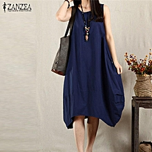Hot Sale ZANZEA Women Summer Dress Sexy Sleeveless Midi Dresses Casual Loose Vintage Solid Pockets Vestidos Plus Size (Blue)