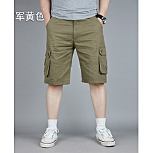 Mens Plus Size Cotton Solid Color Big Pockets Knee Length Cargo Shorts Casual Beach Shorts
