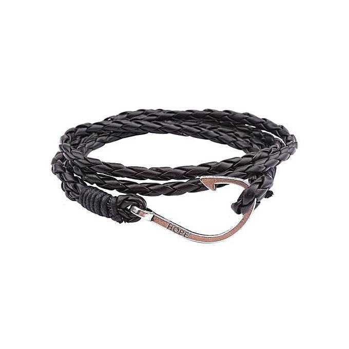 Handmade Multilayer Men Women Leather Braided Cord Rope Bracelet