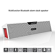 Sardine SDY-019 Portable Wireless Bluetooth Stereo Speaker with 2 X 5W Speaker Enhanced Bass Resonator, FM Radio, Built-in Mic, LED Display, Alarm clock, 3.5 mm Audio Jack, support TF card/Micro SD card and USB input(White and Red) WWD
