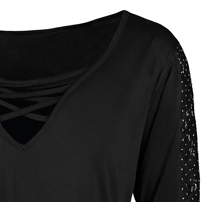03d4594593ec4 Buy Fashion Plus Size Long Sleeve Criss Cross Sharkbite T-shirt   Best  Price