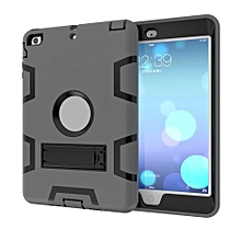 Case For Ipad Mini 1/2/3 Dual Layer Hybrid Armor Protective Stand Cover Case-Gray