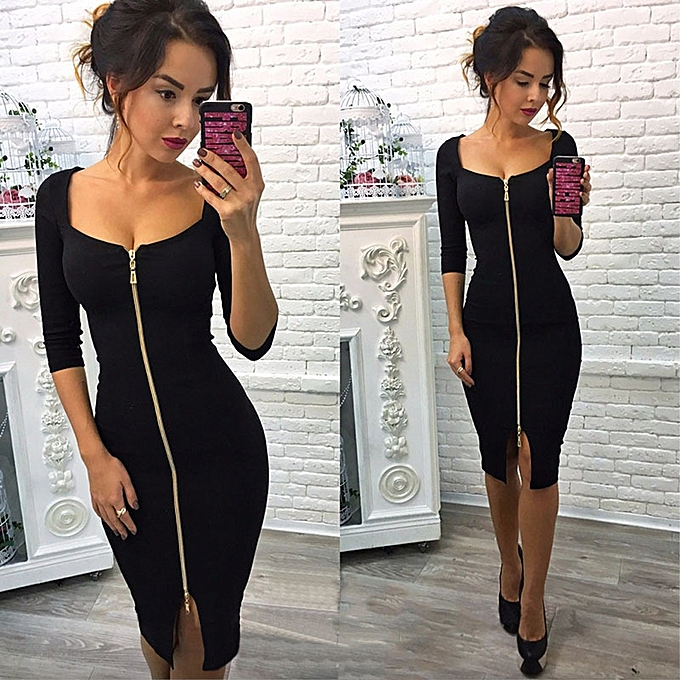 2b16813a3e Xiuxingzi Women Autumn Winter Sexy Zipper Office Wear Dress Evening Party  Dresses BK L