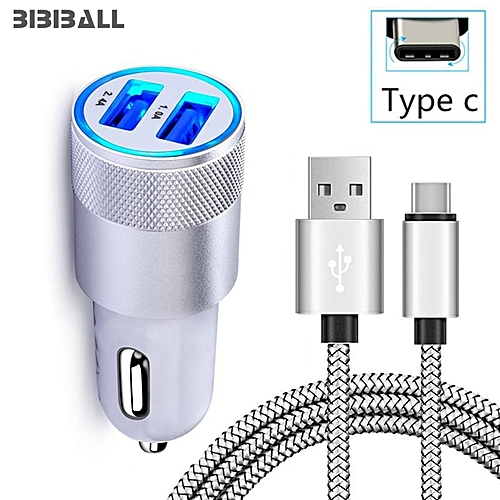 Mini USB Car Charger Adapter 2A Auto Charge+USB-C Cable for Huawei P20 /  P20 Pro / P20 Lite, Nova 3e 2S Honor 10 9 View 10 V10