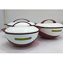 RF8953 - Galaxy Insulated Hot Pot - 3Pcs Serving Dishes - Red & White