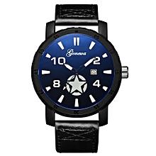 Olivaren  Fashion GONEWA Men Date Stainless Steel Leather Analog Quartz Sport Wrist WatchBlack