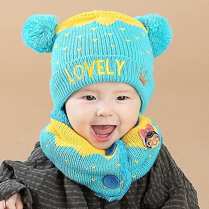 0e782c8fe Baby Boys Girls Kids Letter Crown Hat+Scarf 2Pcs Child Knitting Warm Hats  Cap-Blue