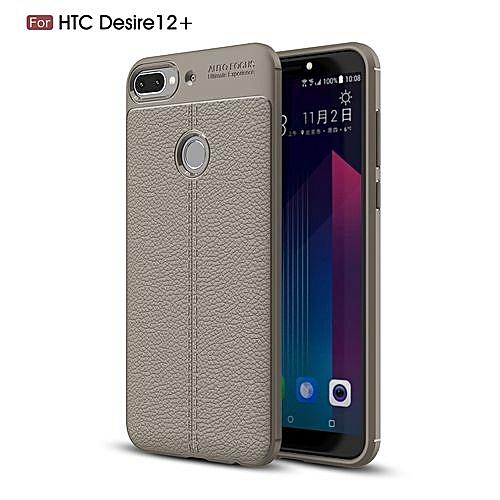 8858d4f9ae1ff1 Generic HTC Desire 12 Plus(Desire 12+) Silicone Case Litchi Pattern TPU  Phone Back Cover - Gray