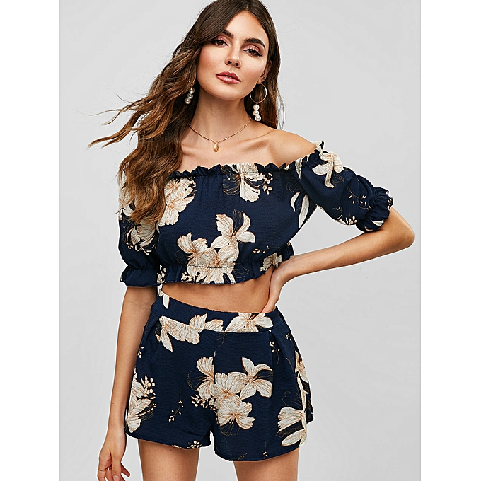 a5cdce01e4a2 ZAFUL Floral Off Shoulder Top And Shorts Set,Midnight Blue @ Best ...