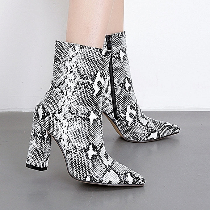 5135f992503 hiamok Women Snakeskin Pattern Toe Zip Thick Pointed Boots Shoes Boots High  Shoes Boots