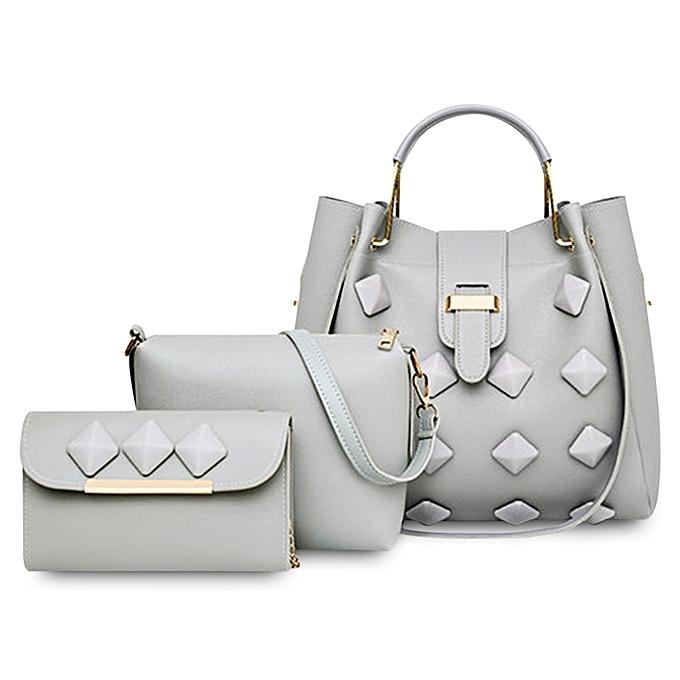 f3ea4d873f5b 3pcs   Set Women Handbag PU Leather Female Shoulder Crossbody Bag - DARK  GRAY