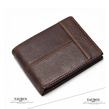 TAUREN Men's Classic Genuine Leather Wallets Zippered Coin Pocket Men's Wallet Leather Wallet With Coin Purse Wallet
