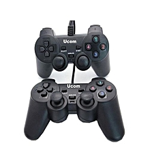 Double - PC USB Dualshock Game Controller Pad - Black