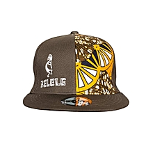 Brown And Orange Snapback Hat With Kelele Color On Panel