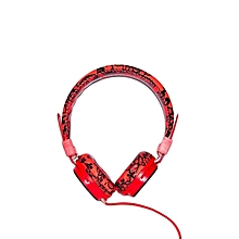 Wired Flower Headphones - Red And Black