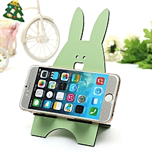 Universal Multicolor Wood Rabbit Cute Design Stand Holder For Cell Phone MP3 PSP Green