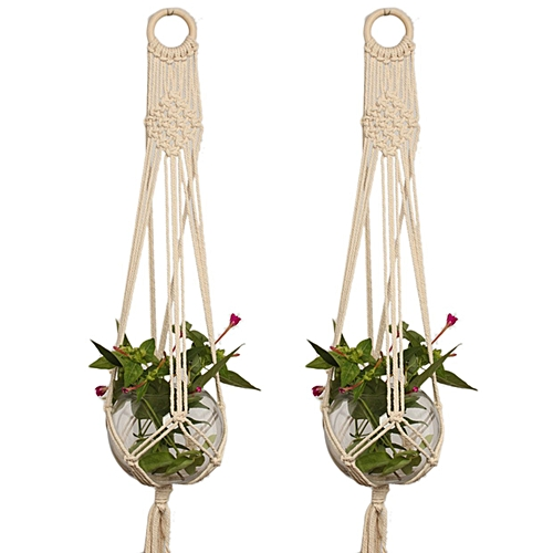 Generic Hemp Braided Rope Flower Pot Holder Macrame Plant Hanger for Home Decoration-beige