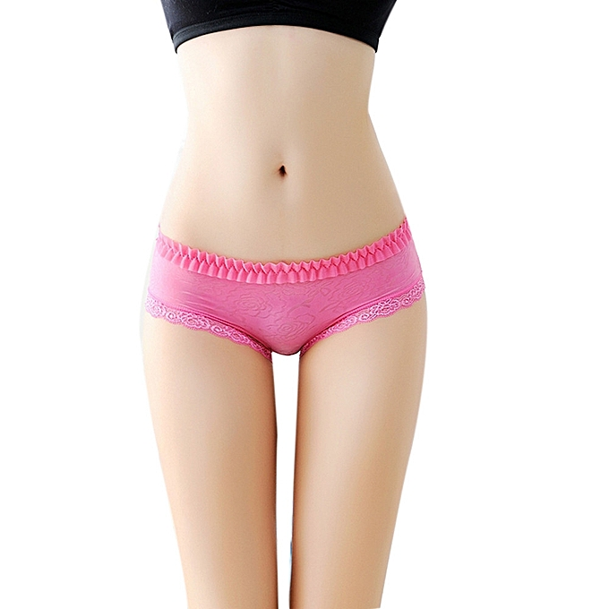ea5615a7e9e5 Women Sexy Panties Lingerie Hollow Flower Lace Thongs V String Underwear Hot -Hot Pink