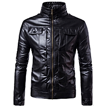 Men Leather Jacket Autumn&Winter Biker Motorcycle Zipper Outwear  Warm Coat-  Black