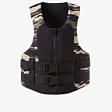 Adult Children Camouflage Lifejacket Unisex Lifesaving Buoyancy Vest For Swimming Water Sports Color:Camouflage Size:L (adult)