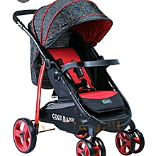 2 way Baby Stroller/Foldable Pram Portable Baby Stroller With Universal Casters - red