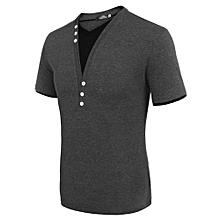 Men Casual V Neck Short Sleeve Slim T-Shirt Tops ( Grey )