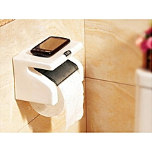White Classy Tissue Holder With Phone Holder - White