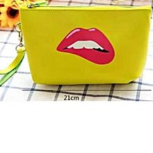 Yellow pink lip make-up kit bag