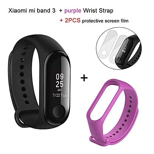 Mi band 3 OLED Heart Rate Monitor Bluetooth 4.2 Smart Bracelet+Purple replacement band and 2 free screen protector