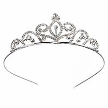Women Stunning Wedding Bridal Alloy Rhinestone Crystal Prom Hair Tiara Headband Crown Pageant Silver Plated Princess
