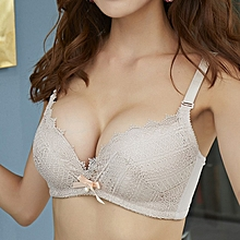 Luxurious Style Women's Floral Lace Soft Cup Bra(GrayPink)