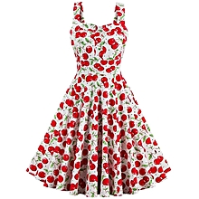Condole belt Floral Print Dress Red