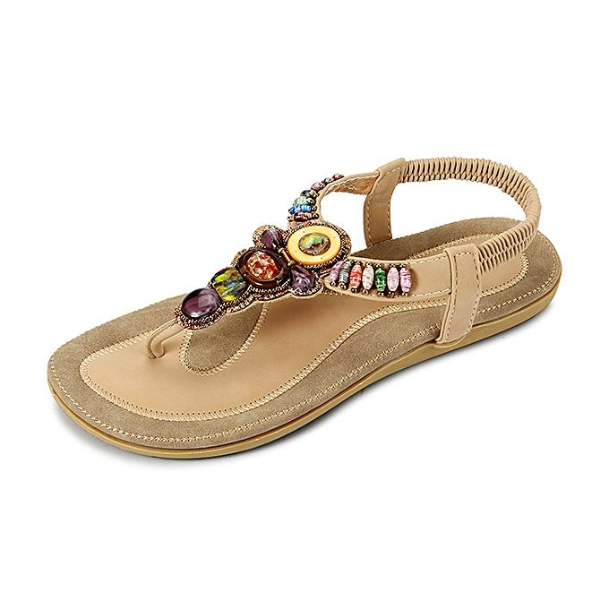 611fc6bd675215 US Size 5-11 Women Summer Bohemian Outdoor Fashion Soft Comfortable Beach  Flat Sandals Shoes