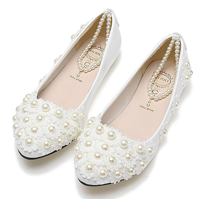 d4cf5fe2500 New FLAT Women White Lace Wedding Shoes Flower Pearls Ankle Trap Bridal  Flats white