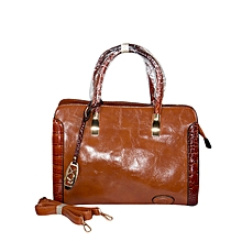 Tan Faux Leather Tote Bag