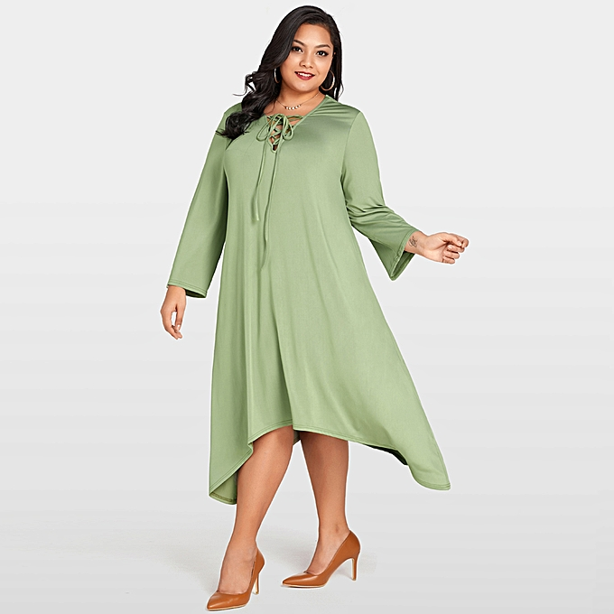 83e0a63bbbbc New Fashion Women Plus Size Lace Up Dress V Neck Long Sleeve Asymmetric Hem  Oversized Loose