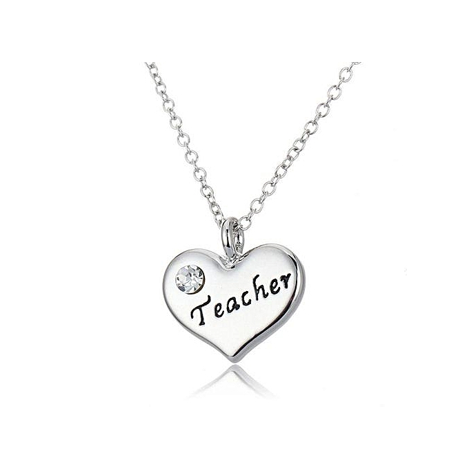 38a33ee1b11bd Fashion Crystal Heart Silver Teacher Charm Chain Pendant Necklace For Women  Men Jewelry Choker Necklace Teacher's Day Gifts