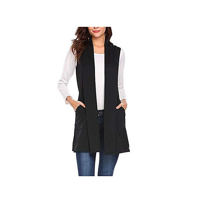 40985bbac6381 Hiaojbk Store Women Casual Sleeveless Cape Shawl Pocket Draped Open Front  Cardigan Vest Coat-Black ...
