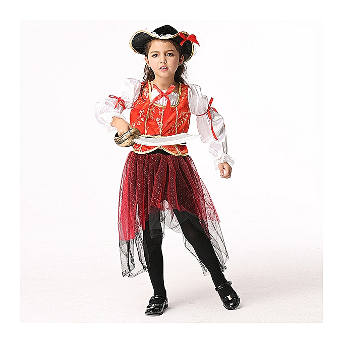 Fashion 4pcs Halloween Kid Girls Long Sleeve Pirate Cosplay Costume