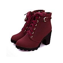 Wine Red Women High Top Heel Suede Lace Up Buckle Ankle Boots